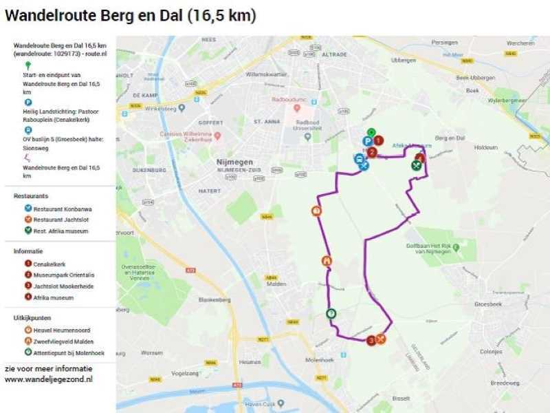 Wandelroute Berg en Dal 16,5 km met legenda