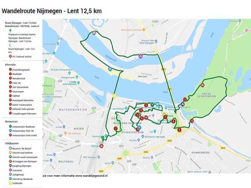 Wandelroute Nijmegen Lent 12,5 km met legenda