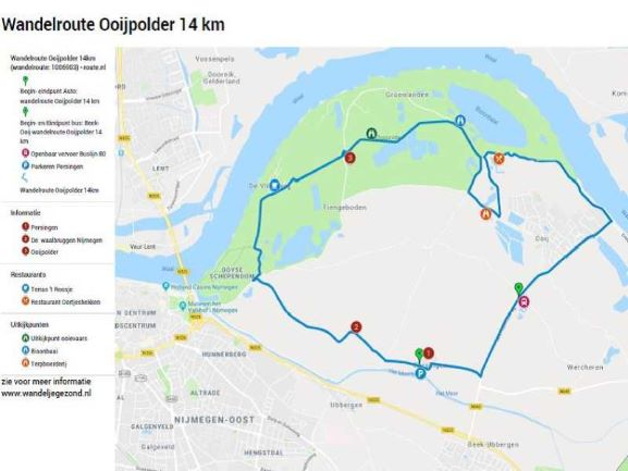 Wandelroute Ooijpolder 14 km met legenda