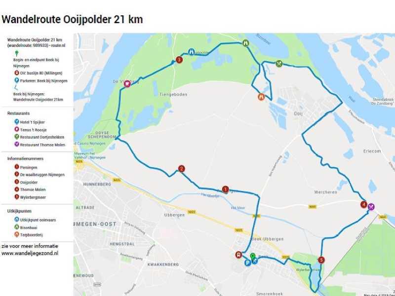 Wandelroute Ooijpolder 21 km met legenda