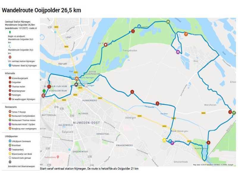 Wandelroute Ooijpolder 26,5 km met legenda